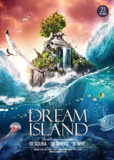 Макет флаера с островом мечты